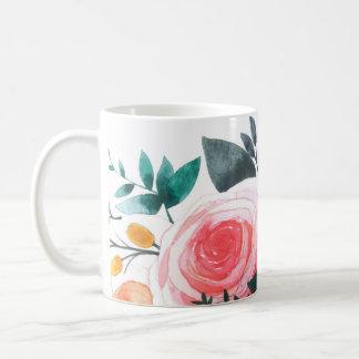 Coral and Pink Roses Basic White Mug