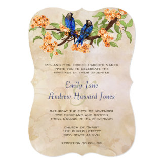 Coral and Royal Blue Vintage Love Birds Tea Stain Personalized Invitations