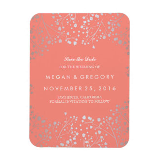 Coral and Silver Baby's Breath Save the Date Magnet