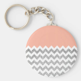 Coral and Silver Faux Glitter Chevron Basic Round Button Key Ring