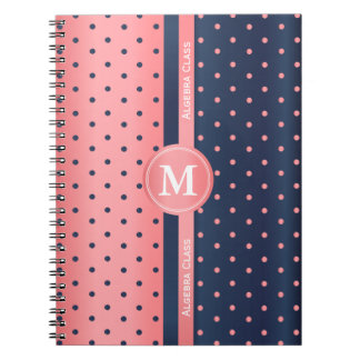 Coral and Slate Blue Polka Dots Notebook