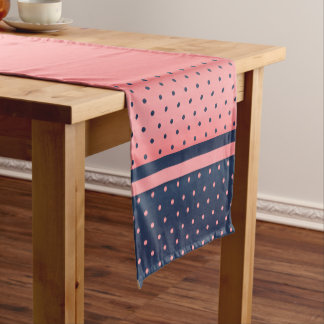 Coral and Slate Blue Polka Dots Short Table Runner