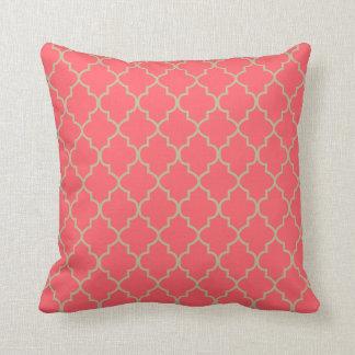 Coral and Tan Quatrefoil Design Cushion