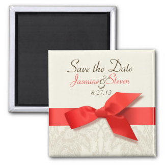 Coral and Taupe Damask Save the Date Magnet