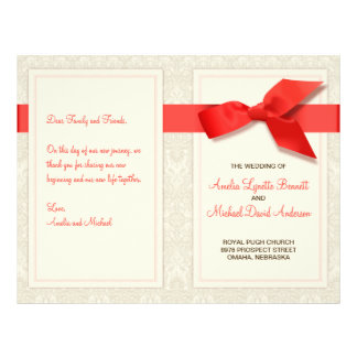 Coral and Taupe Damask Wedding Program Flyer