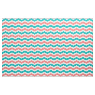 Coral and Teal Chevron Fabric