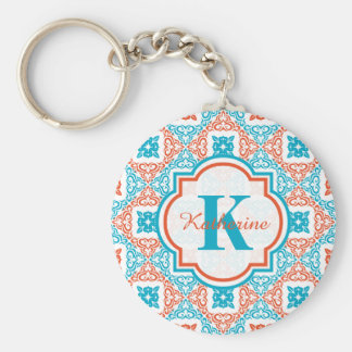 Coral and Teal Decorative Pattern Monogram Key Ring