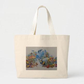 Coral and Tropical Fish Large Tote Bag