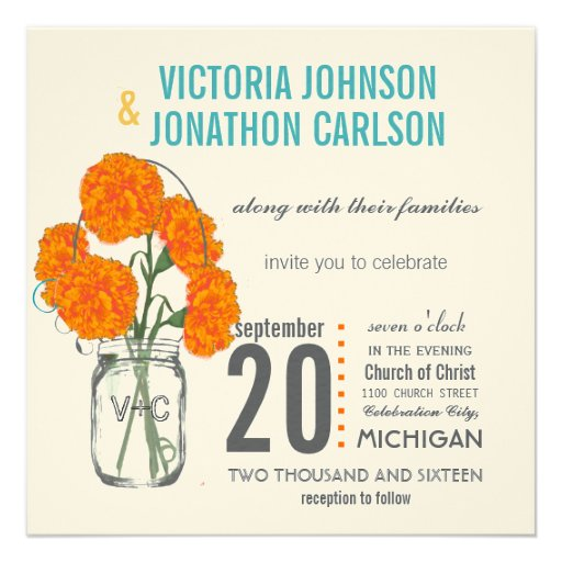 Coral and Turquoise Rustic Mason Jar Carnations Custom Invitations