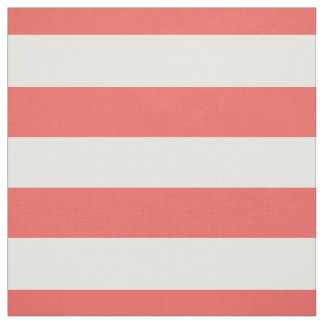 """Coral and White 1.5"""" Horizontal Stripes Pattern Fabric"""
