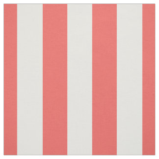 """Coral and White 1.5"""" Stripes Pattern Fabric"""