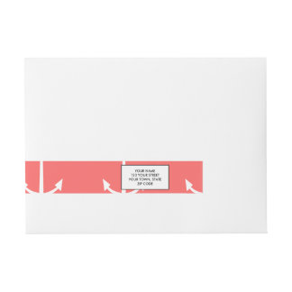 Coral and White Anchors Pattern 1 Wraparound Address Label