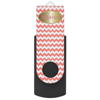Coral and White Chevron Background Swivel USB 2.0 Flash Drive