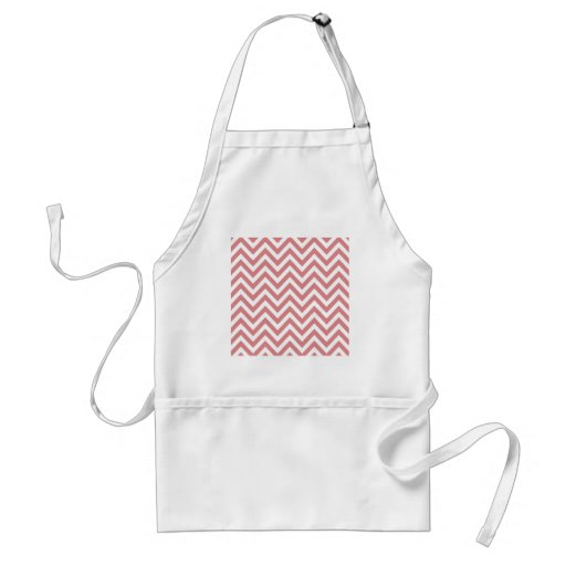 Coral and White Chevron Zigzag Pattern Aprons