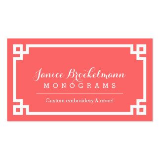 Coral and White Chic Greek Key Border Pack Of Standard Business Cards