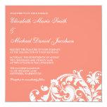 Coral and White Flourish Swirl Wedding Invitations