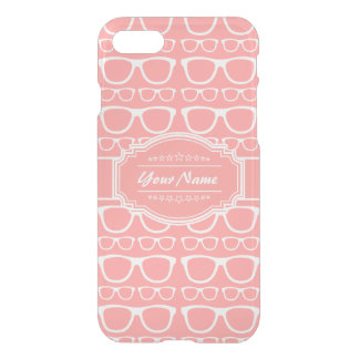Coral and White Geek Glasses Personalized Name iPhone 7 Case