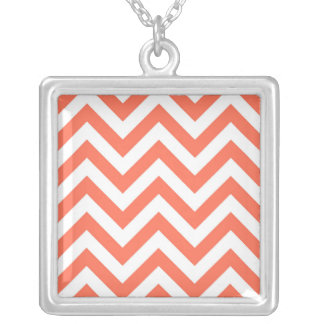 Coral and White Large Chevron ZigZag Pattern Pendant