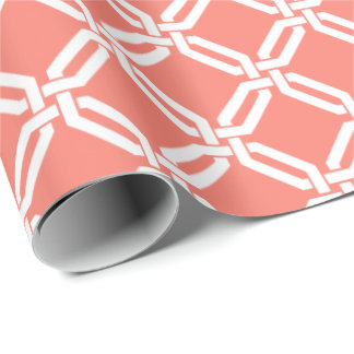 Coral and White Octagon Link Lattice Pattern