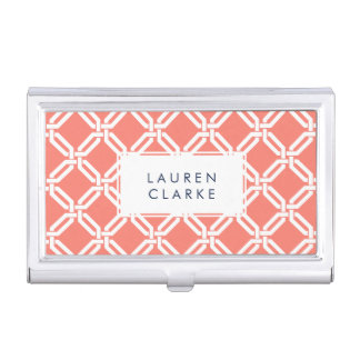 Coral and White Octagon Link Lattice Pattern Business Card Holder