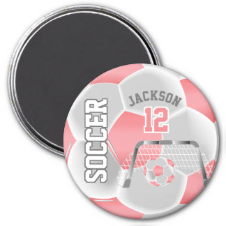 Coral and White Personalize Soccer Ball Magnet