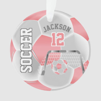 Coral and White Personalize Soccer Ball Ornament