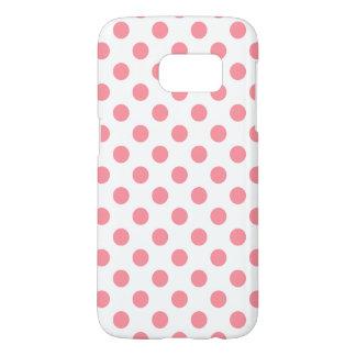 Coral and white polka dots