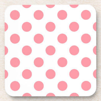 Coral and white polka dots coasters