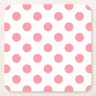 Coral and white polka dots square paper coaster