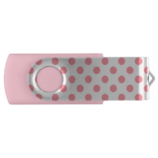 Coral and white polka dots swivel USB 2.0 flash drive