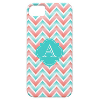 Coral And White Stripes, Aqua Monogram iPhone Case