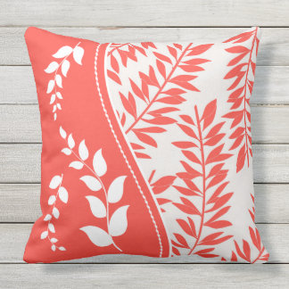 Coral and White with Golden Yellow Summer Leaves Throw Pillow
