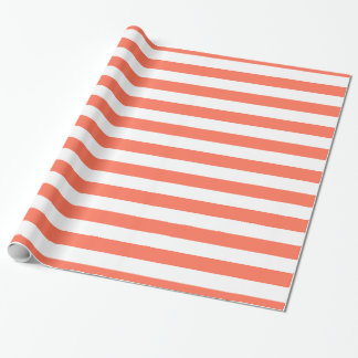 Coral and White XL Stripes Pattern Wrapping Paper