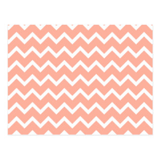 Coral and White Zig Zag Pattern Post Cards