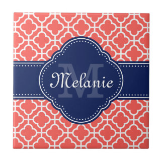 Coral and Wht Moroccan Pattern Navy Monogram Ceramic Tile