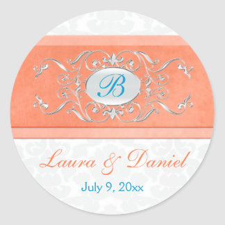 "Coral, Aqua, and Gray 1.5"" Round Wedding Sticker"