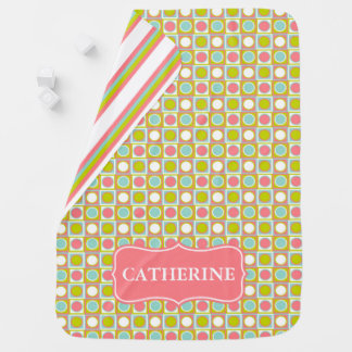 Coral Aqua and Lime Polka Dot Tiles and Stripes Baby Blanket