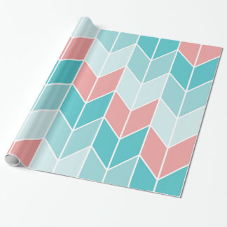 Coral Aqua Blue Large Chevrons Wrapping Paper