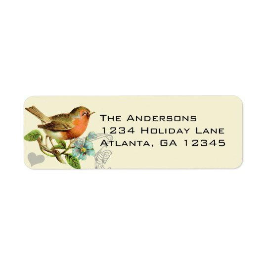 Coral & Aqua Musical Vintage Bird Return Address Return Address Label