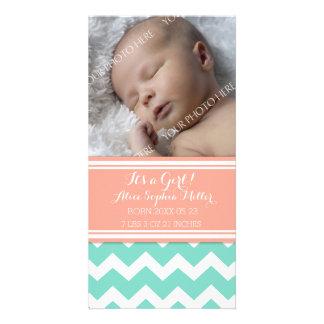 Coral Aqua Photo New Baby Birth Announcement Picture Card