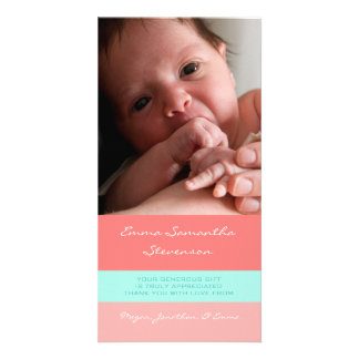 Coral Aqua Thank You Baby Shower Photo Cards