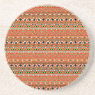 Coral Aztec Style Southwestern Pattern Beverage Coasters