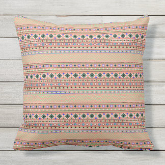 Coral Aztec Tribal Pattern Outdoor Cushion