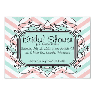 Coral Baby Blue Chevron Bridal Shower Invitations