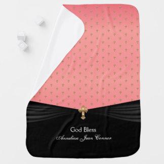 Coral Baby Christening | Baptism | Gold Crosses Baby Blanket