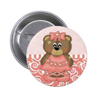 Coral Ballerina Bear Buttons