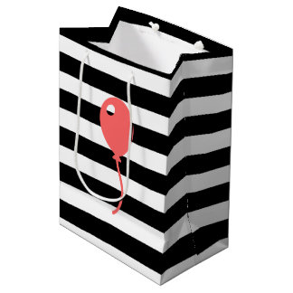 Coral Balloon on Black and White Stripe Gift Bag