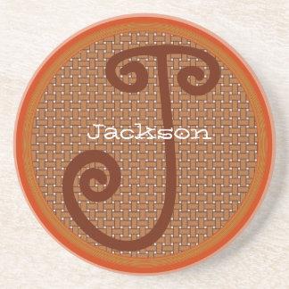 Coral Basket Weave Monogram Wedding Coasters