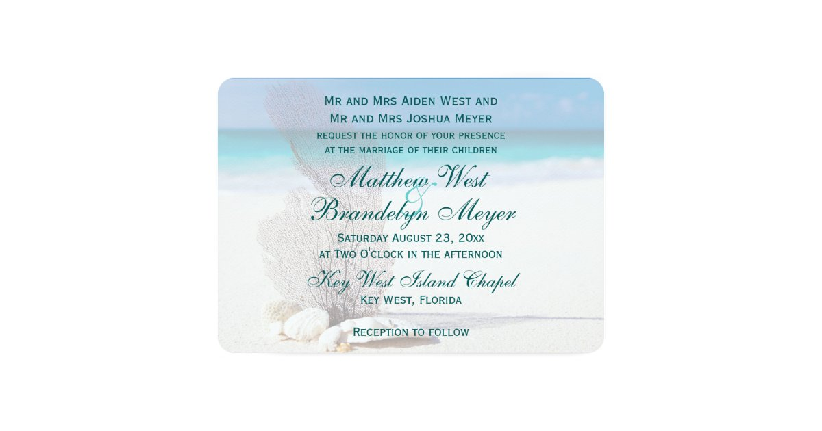 Coral beach destination wedding invitations zazzlecomau for Electronic destination wedding invitations