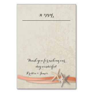 Coral Beach Starfish and Ribbon Place Card